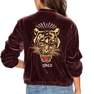 Obey Velour Embroidered Tiger zip jacket L